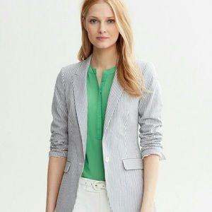 Banana Republic Striped Cotton Lined Blazer NEW